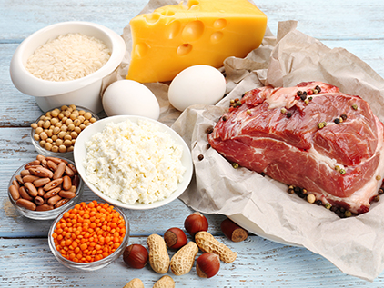Assortment of protein foods.