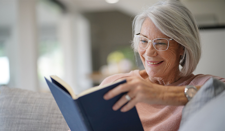 Older woman reading.