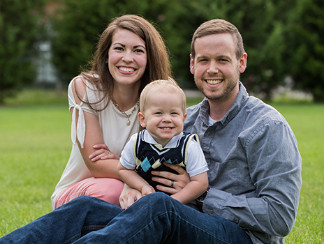 Cancer patient Andrew Claassen with wife and son.